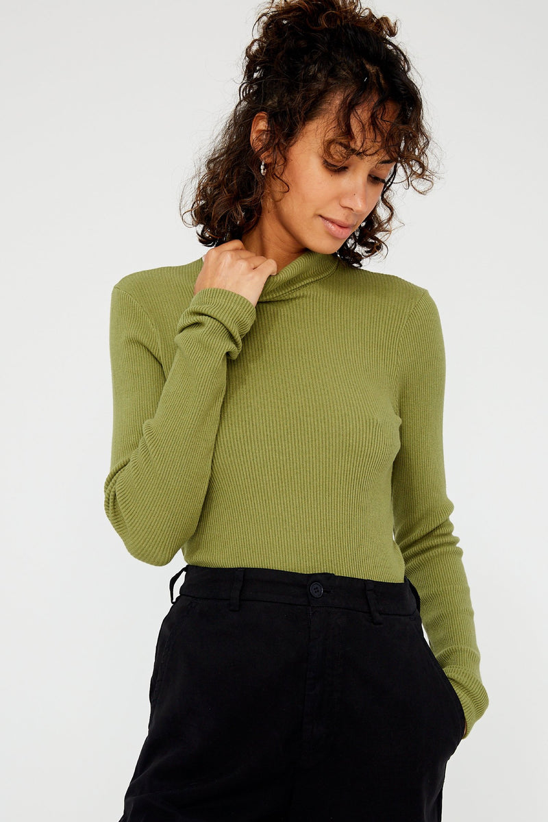 Olive Sweater Rib Turtleneck