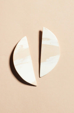 Tan White Half Circle Earrings