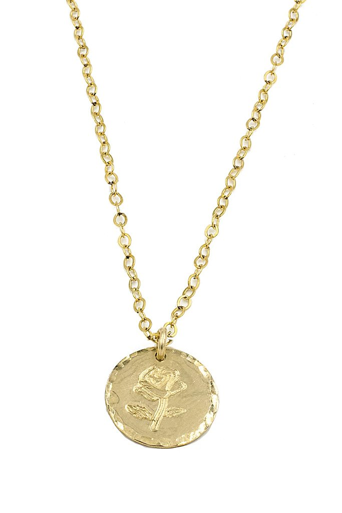 Gold Stamped Rose Coin Necklace
