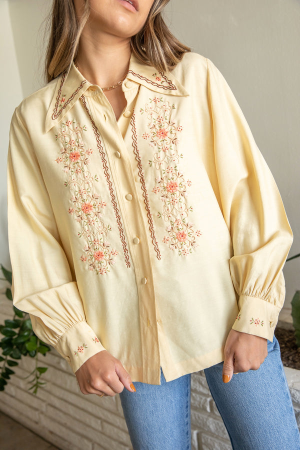 Hand Embroidered Silk Button Down