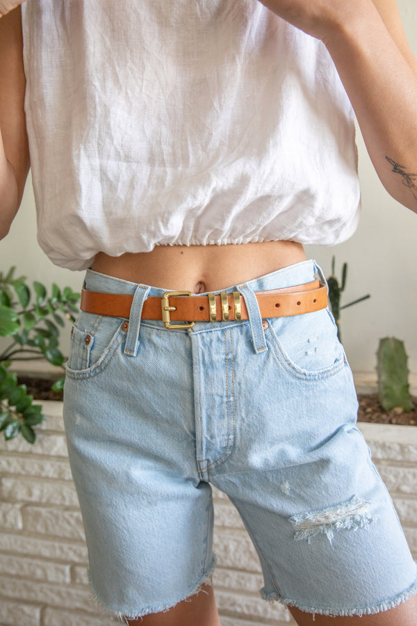 Brass + Saddle Leather Belt