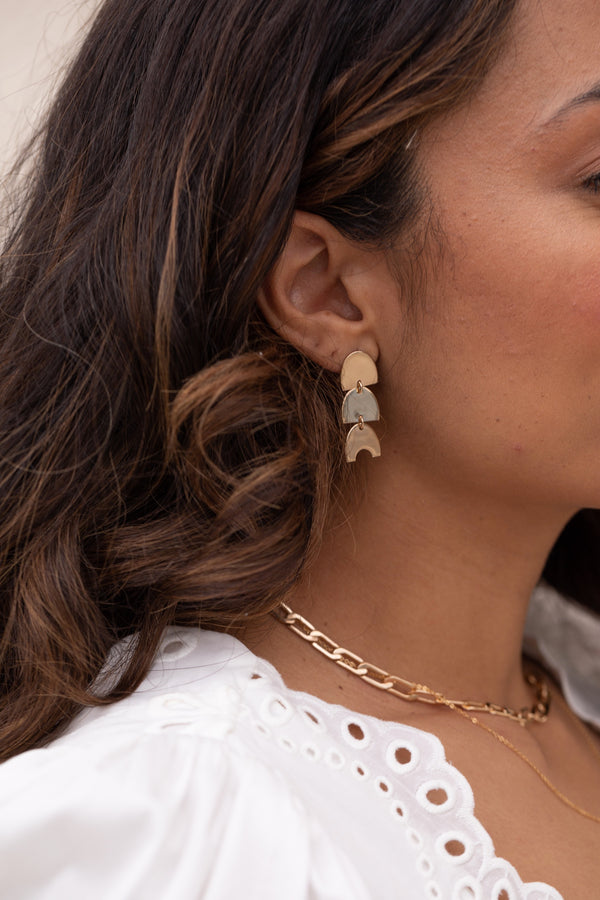 Gold Triple Arches Earrings