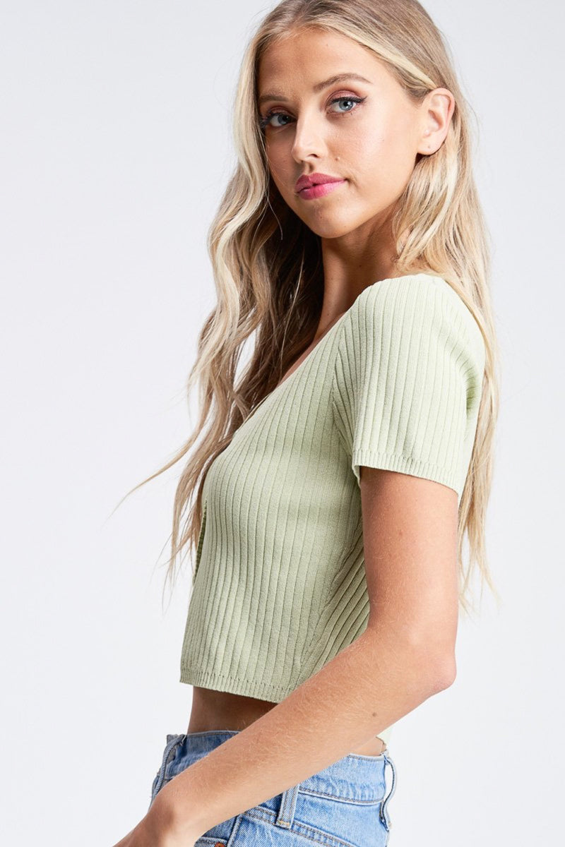 Mint Noelle Button Front Sweater Top