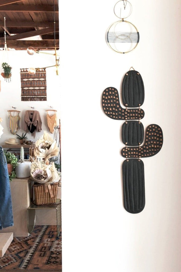 Black Saguaro Wall Hanging