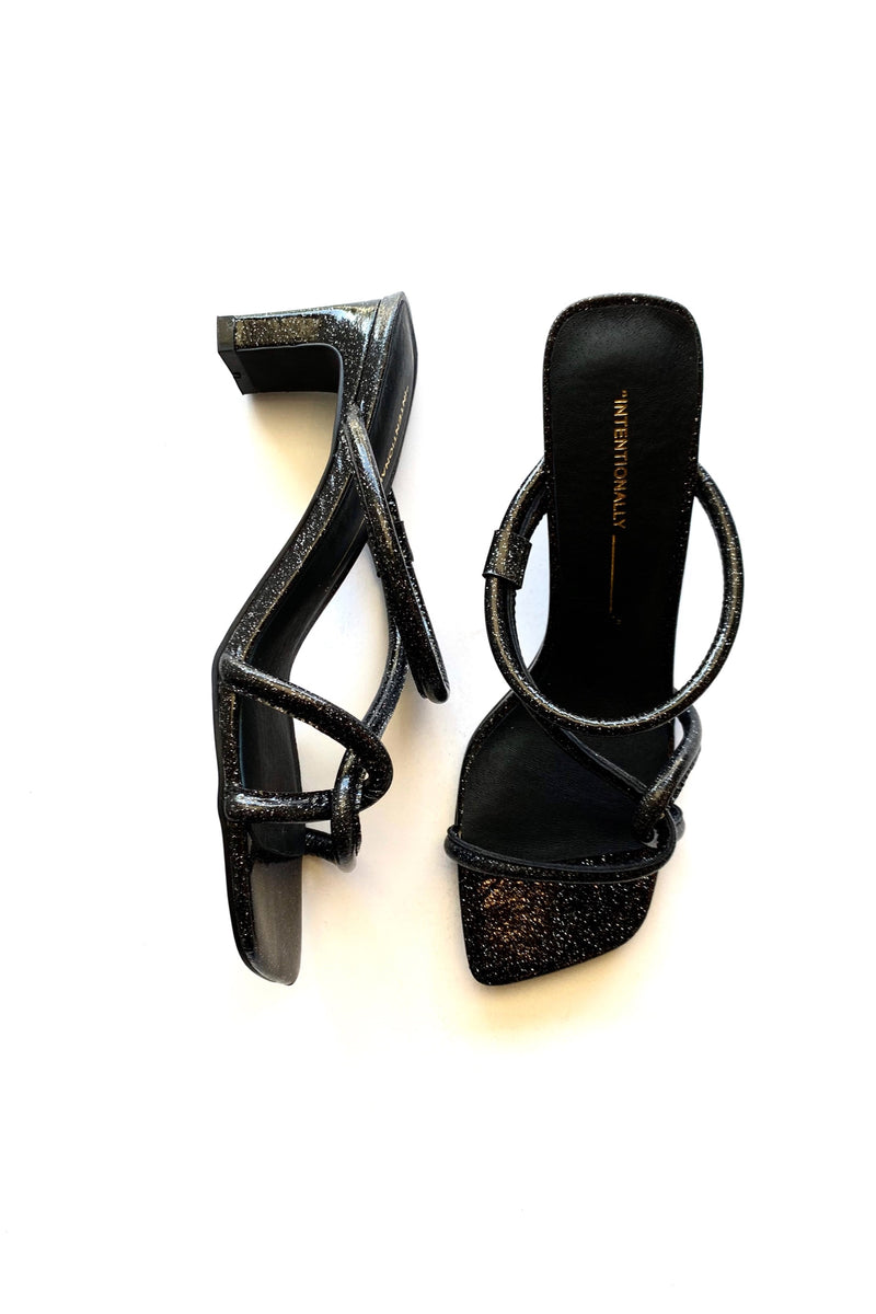 Black Glitter Willow Heels