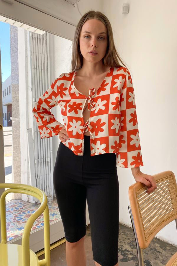 Orange Daisy Check Camilla Top