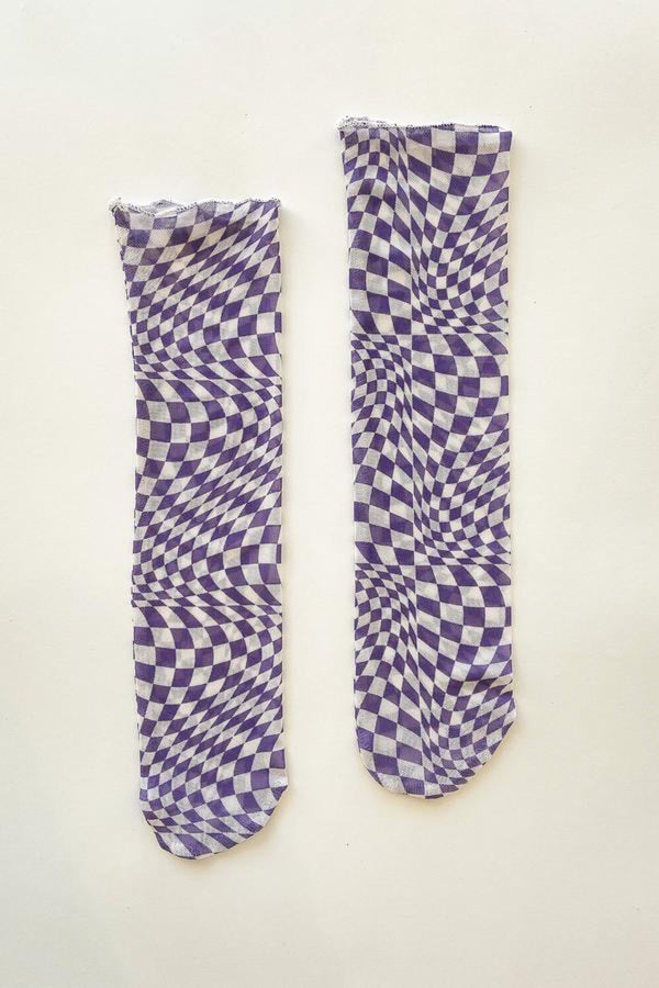 Purple Warp Check Amanda Sock