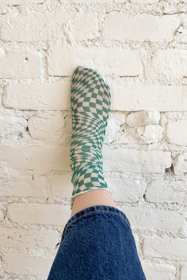 Green Warp Check Amanda Sock