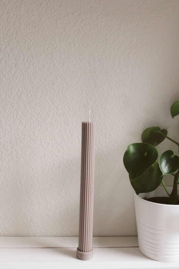 Grey Fluted Pillar Candle