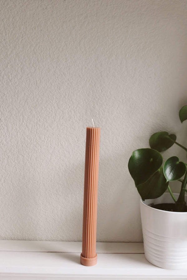 Blush Fluted Pillar Candle