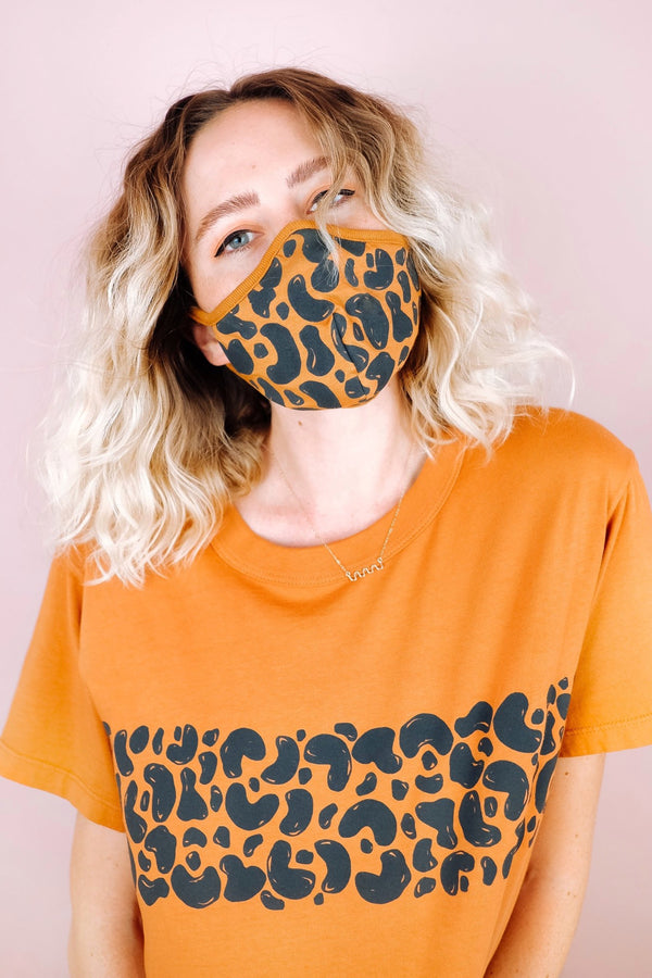 Cognac Painted Leopard Mask