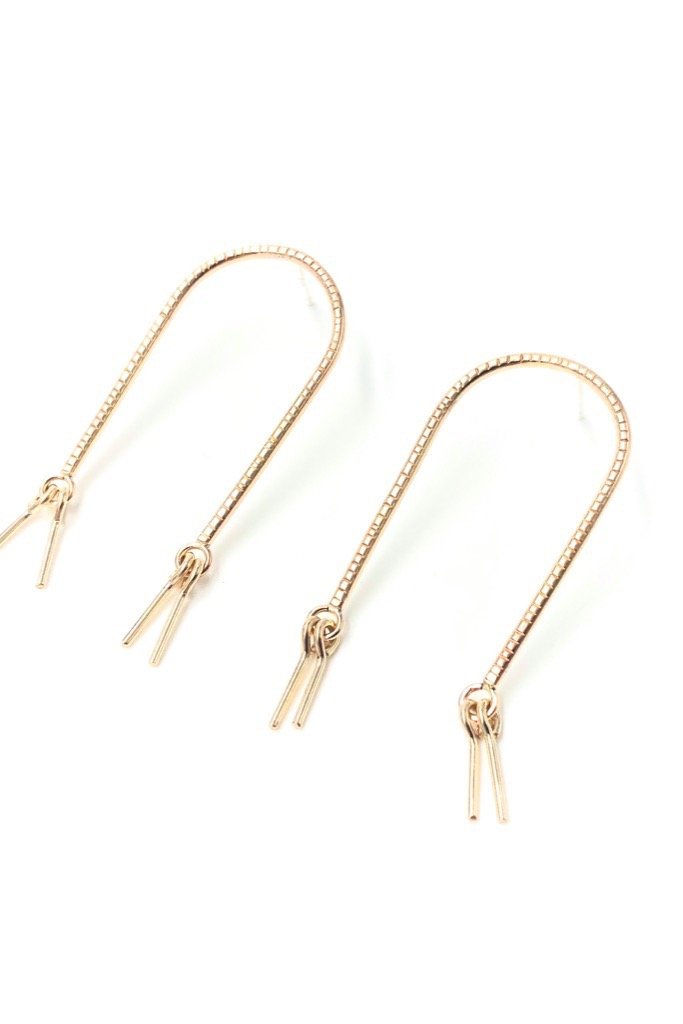 Gold Fringed Arc Studs