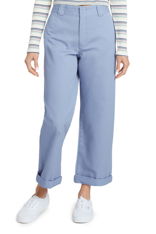 Chambray Blue Work Crop Pant