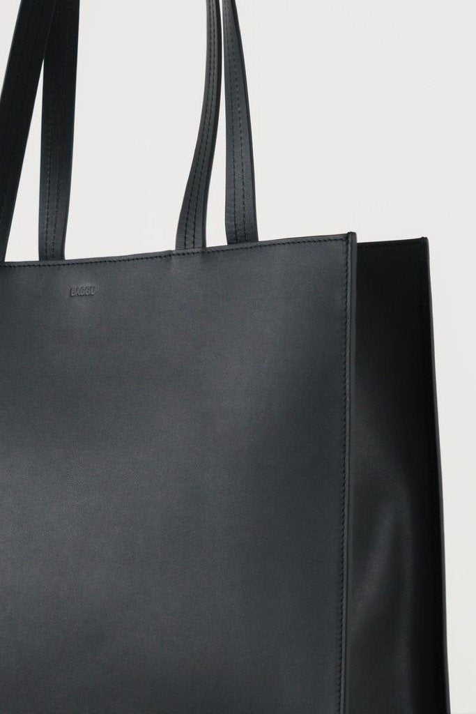 Black Large Leather Retail Tote