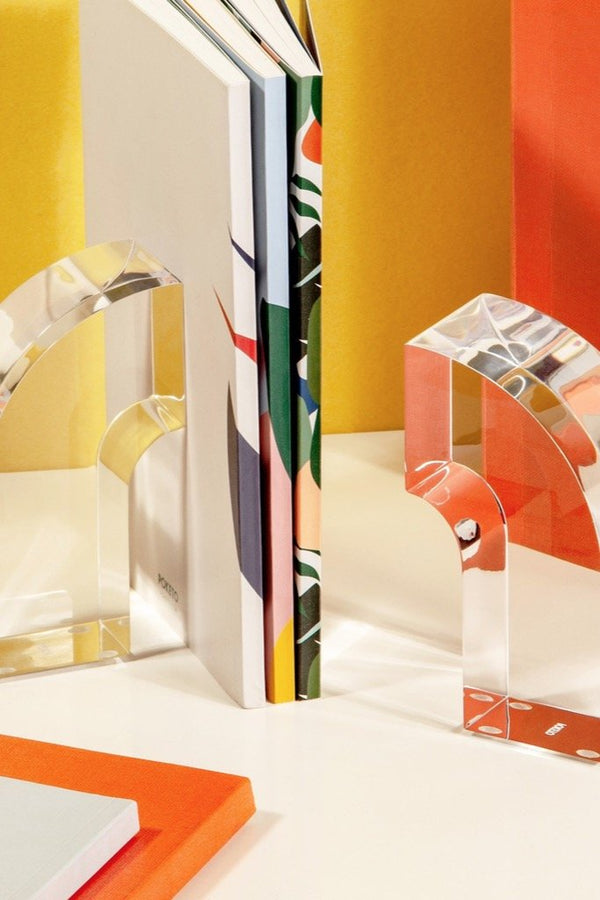 Lucite Arc Bookend Set