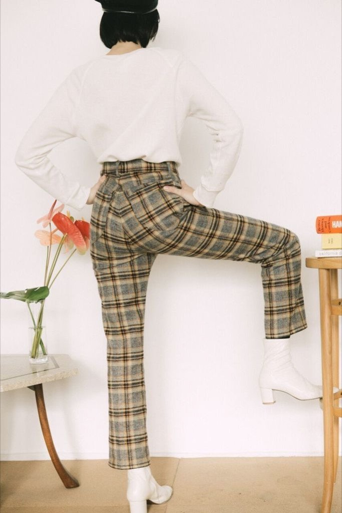 Grey Plaid Ranch Pant