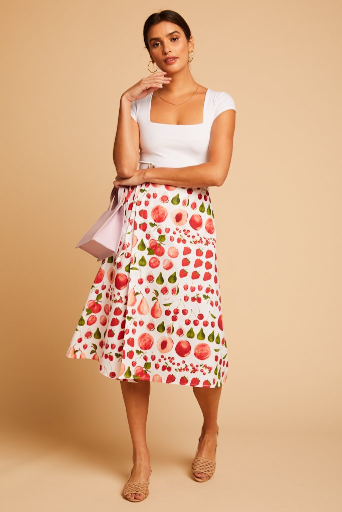 Fruit Print Capri Wrap Skirt
