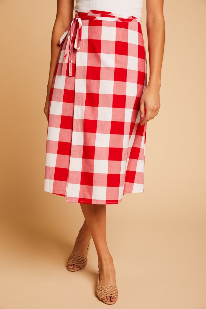 Red Gingham Capri Wrap Skirt