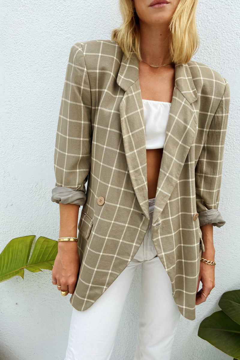 90s Grey & White Wide Plaid Blazer
