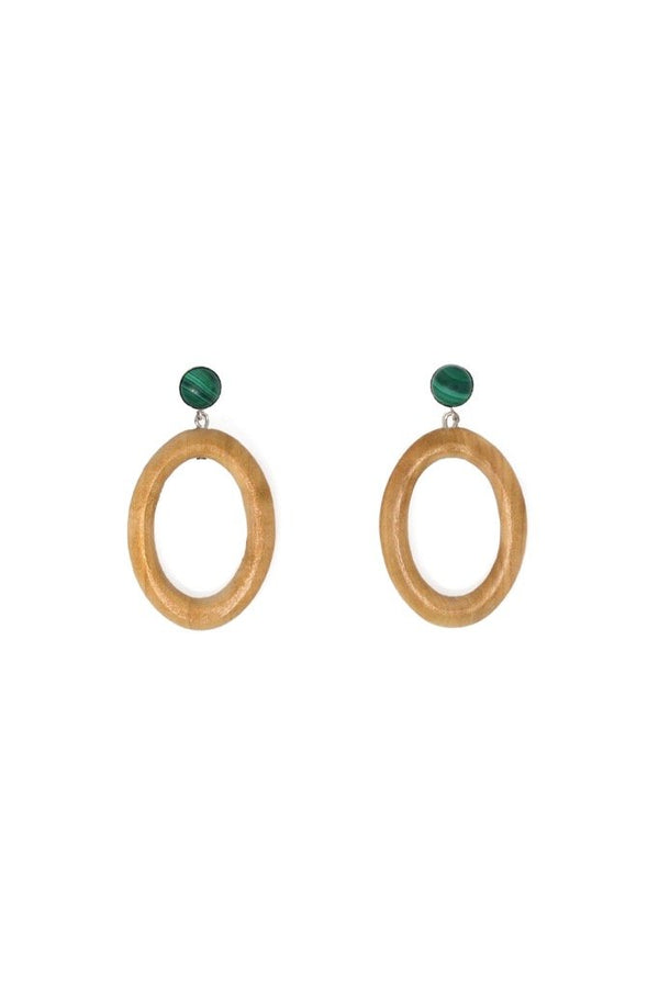Minimal Malachite Earrings