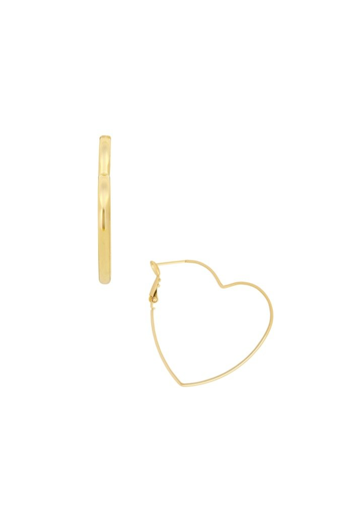 Gold Mia Heart Hoops