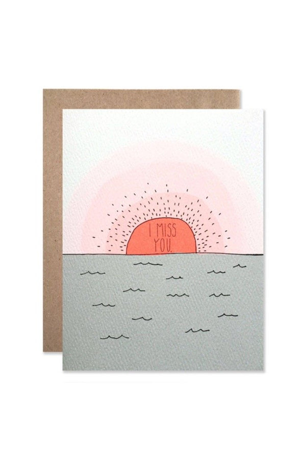 I Miss You Sunset Card