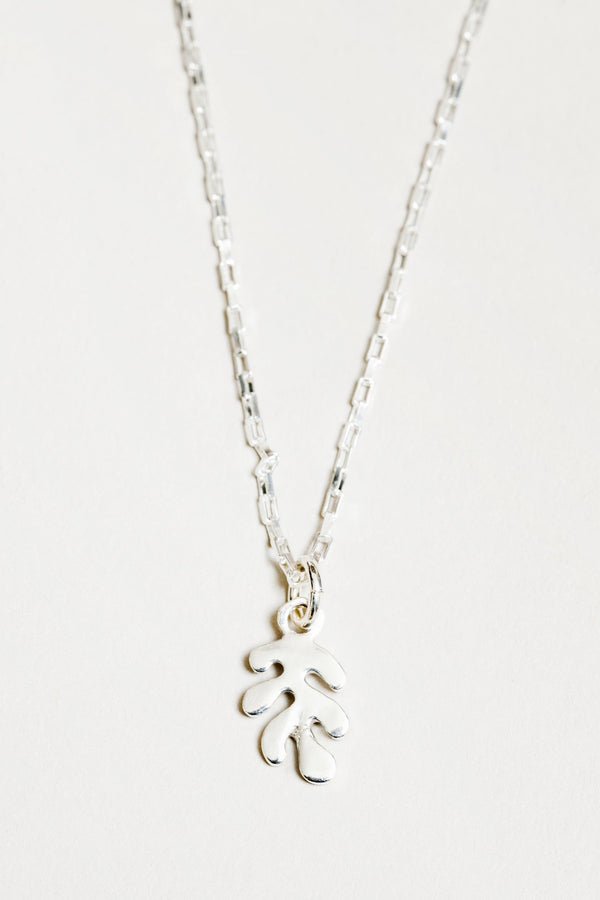 Silver Charm Leaf Necklace