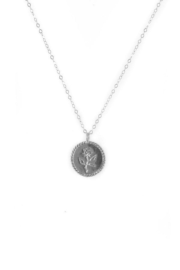 Silver Rose Coin Necklace