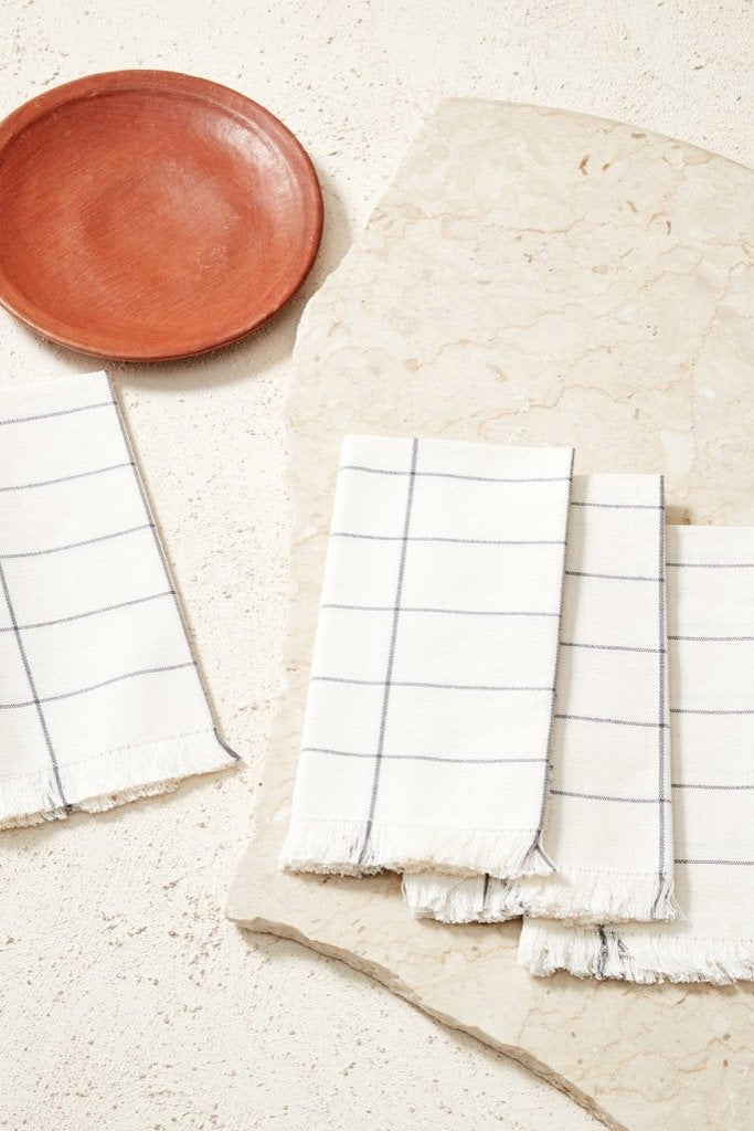 Cream Grid Napkin Set