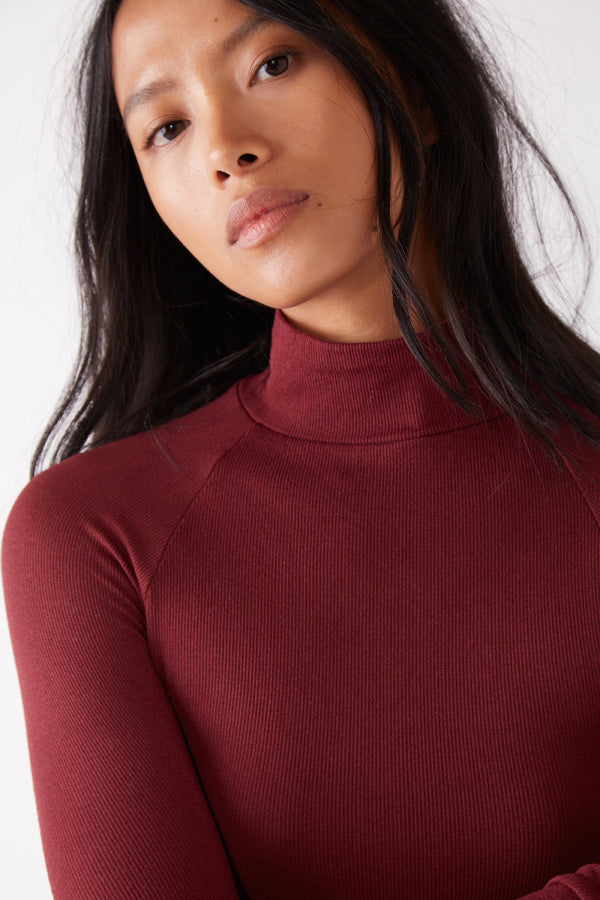 Plum Seamless Turtleneck Bodysuit