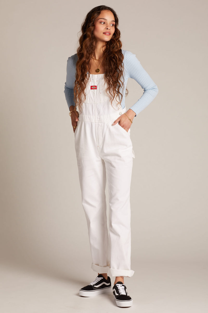 White Relaxed Overalls