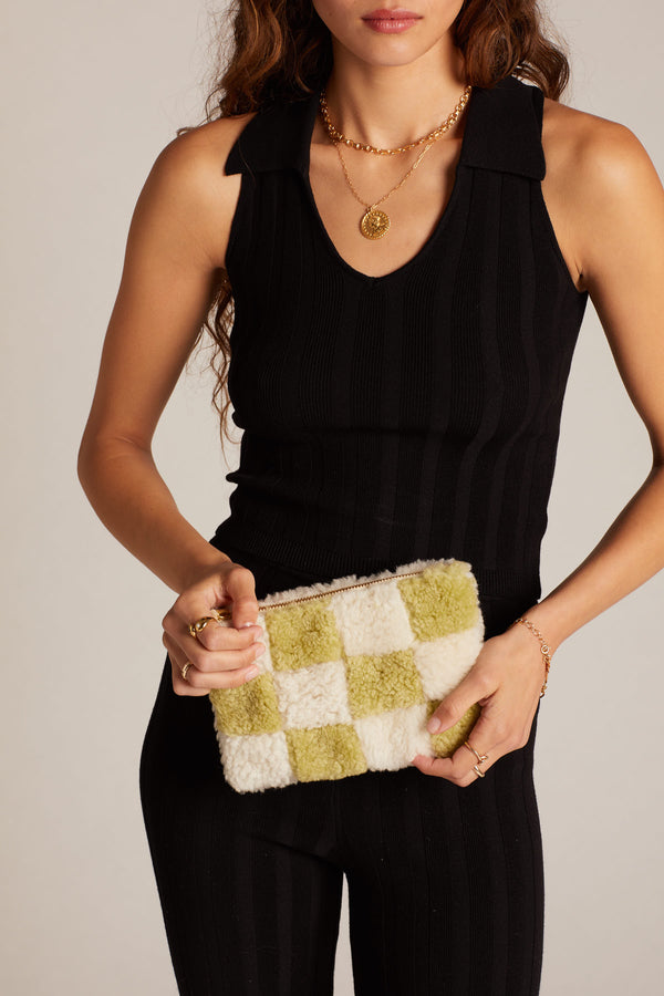 X Prism Avocado + White Checkered Patchwork Pouch