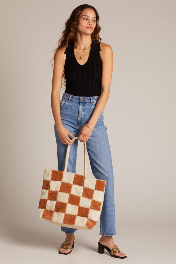 X Prism Cognac + White Checkered Patchwork Tote