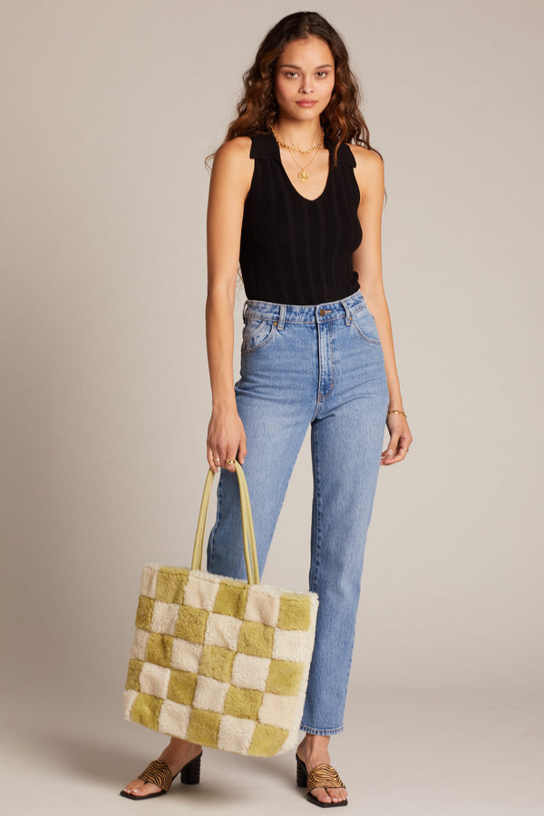 X Prism Avocado + White Checkered Patchwork Tote
