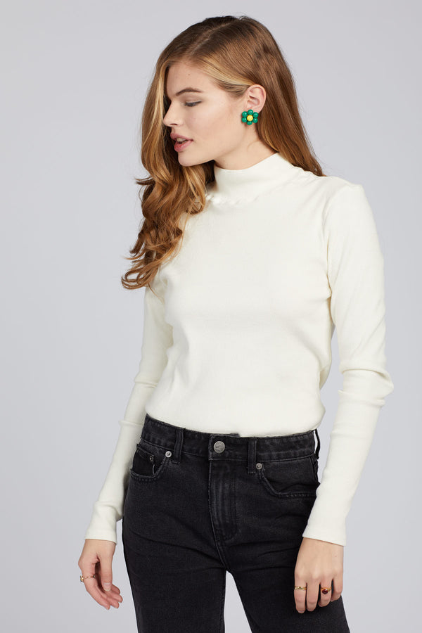 Ivory Ribbed Turtleneck