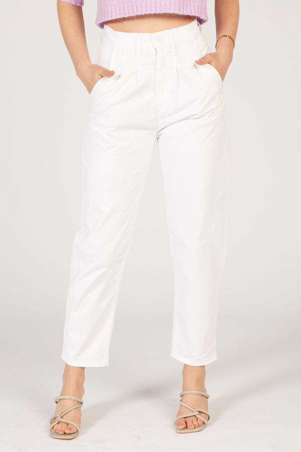 Bright White Pleated Balloon Pants