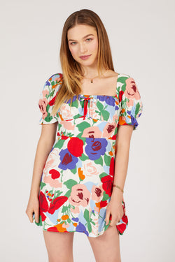 Anita Floral Iris Mini Dress
