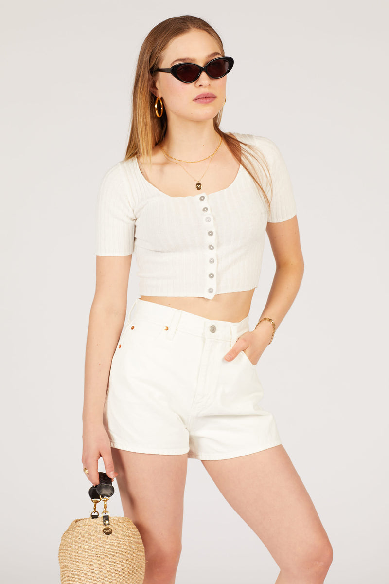 White Cell Wide Leg Shorts
