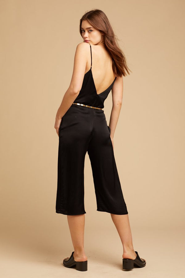 Black V-Neck Slip Jumpsuit