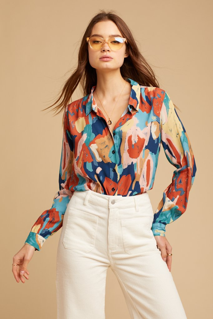 Tulip Rust Painted Blouse