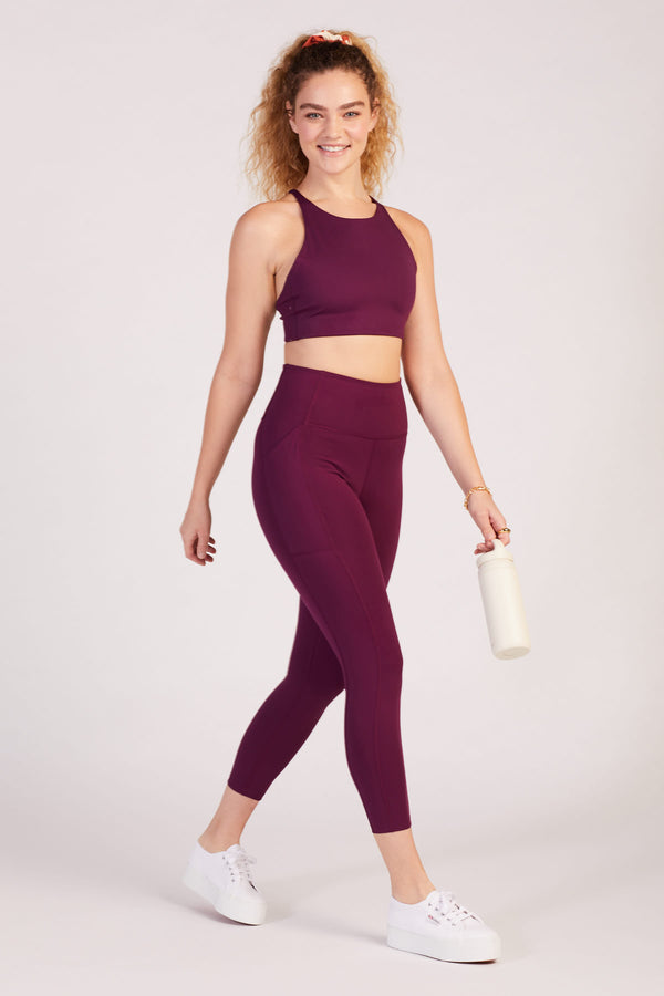"23 3/4"" Plum High Rise Pocket Legging"