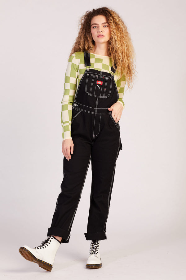 Black Relaxed Overalls