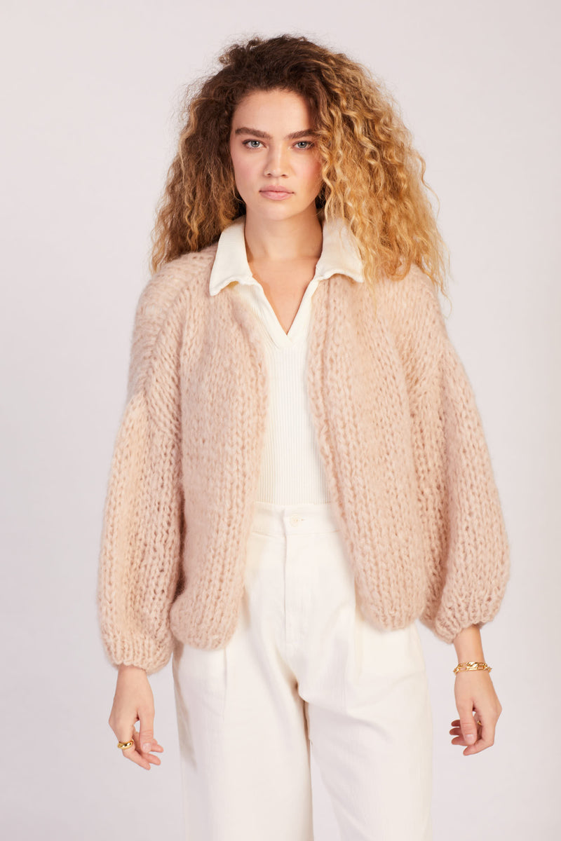 Beige Big Bomber Cardigan