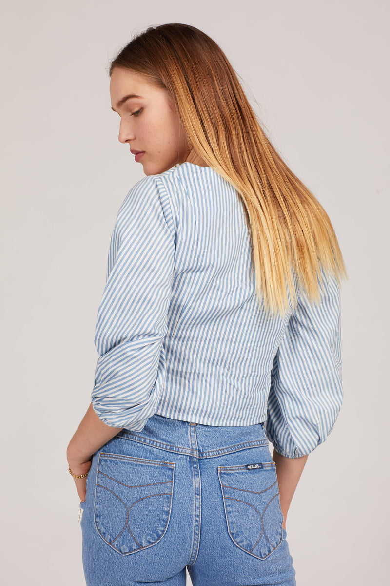 Sky Blue Roxanne Stripe Blouse