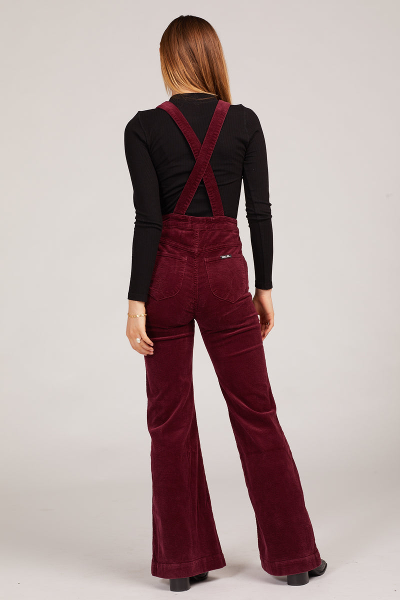 Bordeaux Cord Eastcoast Flare Overalls