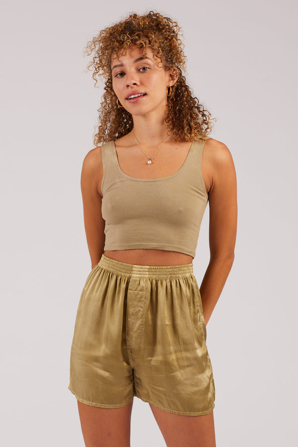 Olive Scoop Neck Crop