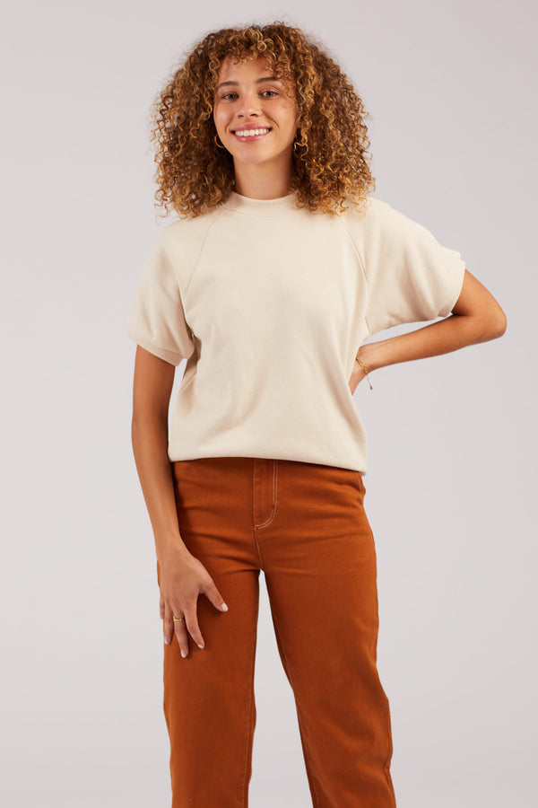 Cream Short Sleeve Sweatshirt