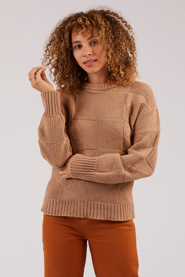 Camel Geometric Crewneck Sweater