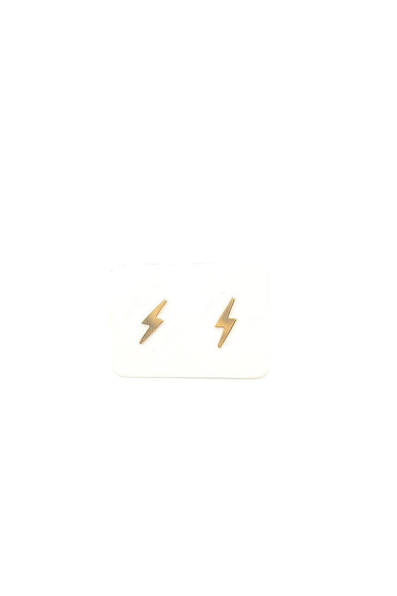 Gold Lightning Bolt Studs