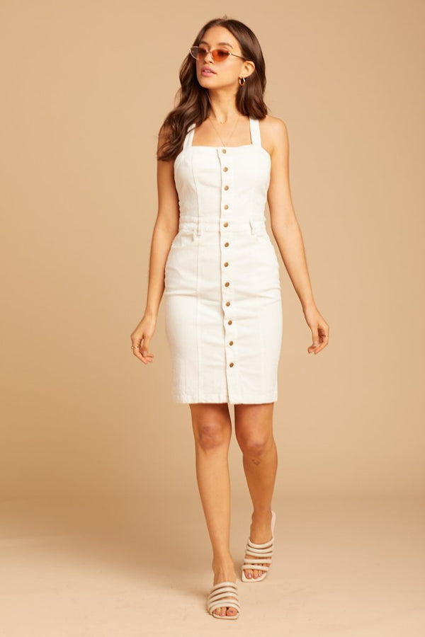 White Corduroy Frankie Dress